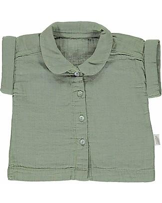 Poudre Organic Blusa Maniche Corte con Colletto e Bottoncini Balsamine (24 mesi), Verde Olio - 100% cotone bio Camicie