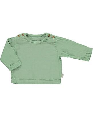 Poudre Organic Blusa Maniche Lunghe con Bottoncini Houblon, Verde Giada (dai 3 anni) - 100% cotone bio Maglie Manica Lunga