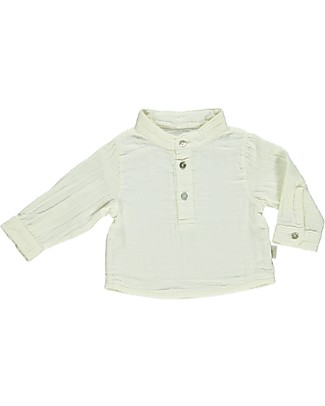 Poudre Organic Camicia Tre Bottoni, Bianco Latte - 100% cotone bio Camicie