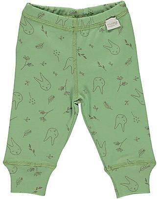 Poudre Organic Leggings Baby, Verde Giada con Stampa Coniglietti  - 100% cotone bio Leggings