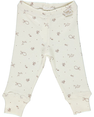 Poudre Organic Leggings in Jersey Cotone Bio, Latte con Stampa Bergamotto Leggings