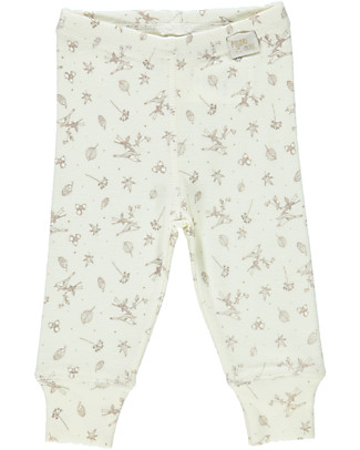 Poudre Organic Leggings in Jersey Cotone Bio, Latte con Stampa Brezza d'Autunno Leggings