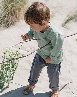 Poudre Organic Pantalone Unisex, Antracite (1-2 anni) - 100% cotone bio Pantaloni Lunghi