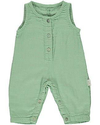 Poudre Organic Sleeveless Onepiece with Buttons Badiane, Green Jade (3+ years) - 100% organic cotton Sets And Co-Ords