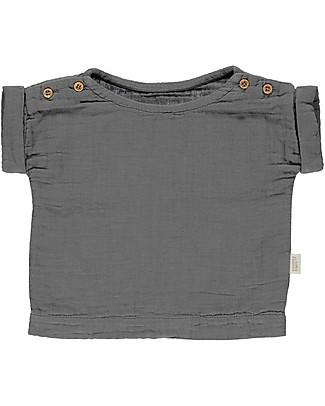 Poudre Organic T-shirt con Maniche Arrotolate e Bottoncini Lin, Antracite - 100% cotone bio Maglioni