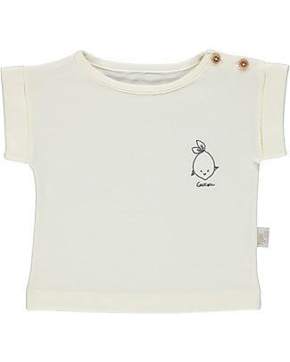 Poudre Organic T-Shirt Unisex, Latte con Ricamo Bergamotto - 100% cotone bio T-Shirt e Canotte