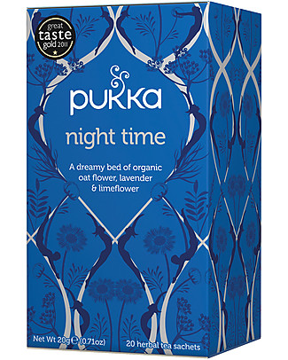 Pukka Night Time, Tisane with Oat Flowers, Lavender and Lime Flowers, 20 teabags – It promotes good sleep Infusions