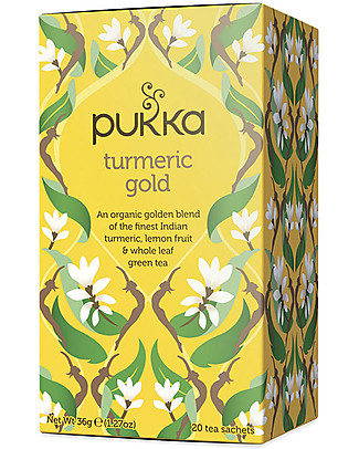 Pukka Turmeric Gold, Tisana al Limone, Curcumina e Tè Verde, 20 bustine - Nutre e Rinvigorisce! Tisane