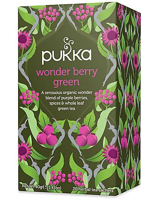 Pukka Wonder Berry Green,Tisana con Bacche, Spezie e Tè Verde, 20 bustine – Stimola tutti i Sensi Tisane