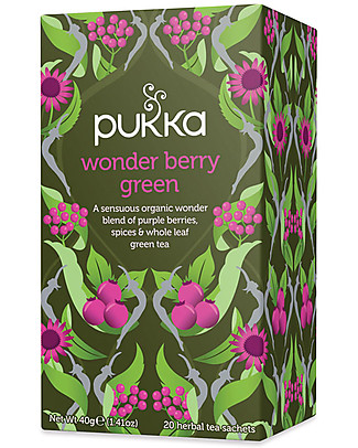 Pukka Wonder Berry Green,Tisana con Bacche, Spezie e Tè Verde, 20 bustine - Stimola tutti i Sensi Tisane