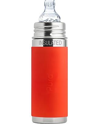 Pura Kiki Biberon Termico in Acciaio 250 ml Tettarella Flusso Medio (3+ mesi) - colore arancio Borracce Termiche