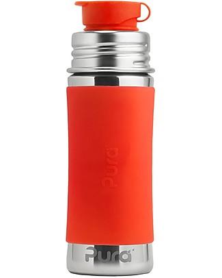 Pura Kiki Bottiglia in Acciaio con Tappo Sport, 325 ml - Arancio Biberon In Acciao