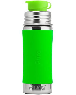 Pura Kiki Bottiglia in Acciaio con Tappo Sport, 325 ml - Verde Biberon In Acciao