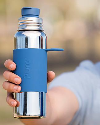 Pura Kiki Bottiglia Sport in Acciaio, Blu, 850 ml - La prima al mondo 100% senza plastica! Borracce Metallo