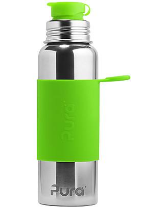 Pura Kiki Bottiglia Sport in Acciaio, Verde, 850 ml – La prima al mondo 100% senza plastica! Borracce Metallo