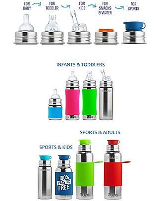 Pura Kiki Bottiglia Sport Termica in Acciaio, Acqua, 650 ml – La prima al mondo 100% senza plastica! Borracce Metallo