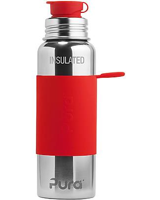 Pura Kiki Bottiglia Sport Termica in Acciaio, Rosso, 650 ml – La prima al mondo 100% senza plastica! Borracce Metallo
