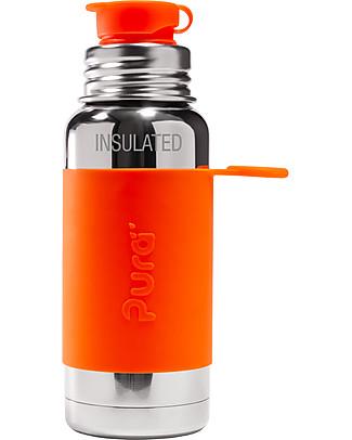 Pura Kiki Bottiglia Termica Sport in Acciaio, Arancio, 475 ml - La prima al mondo 100% senza plastica! Borracce Metallo