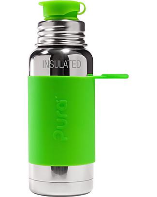 Pura Kiki Bottiglia Termica Sport in Acciaio, Verde, 475 ml - La prima al mondo 100% senza plastica! Borracce Termiche