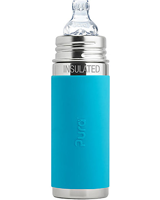 Pura Kiki Stainless Steel Vacuum Insulated Baby Bottle - 250ml - Aqua - Medium Flow Teat 3+ Months Stainless Steel Baby Bottles