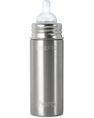 Pura Kiki Stainless Steel Vacuum Insulated Toddler Sippy Bottle - 266ml - 3+ months Medium Flow Teat - Natural Stainless Stainless Steel Baby Bottles