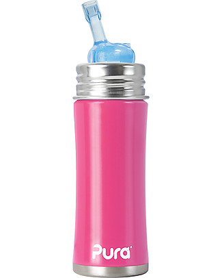 Pura Kiki Stainless Still Bottle with Straw, 325 ml - Pink Stainless Steel Baby Bottles