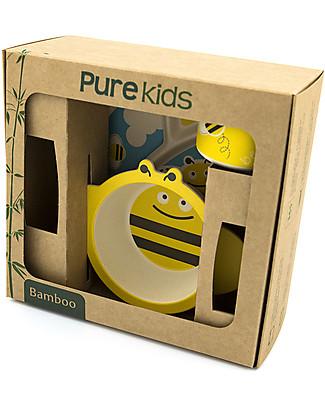 Pure Kids Set Pappa in Bambù, 3 pezzi, Ape – Biodegradabile, senza BPA, PVC o ftalati! Set Pappa