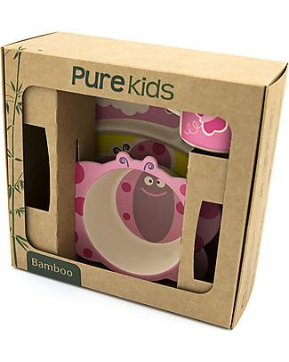 Pure Kids Set Pappa in Bambù, 3 pezzi, Farfalla - Biodegradabile, senza BPA, PVC o ftalati! Set Pappa