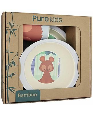 Pure Kids Set Pappa in Bambù, 3 pezzi, Orsetto - Biodegradabile, senza BPA, PVC o ftalati! Set Pappa