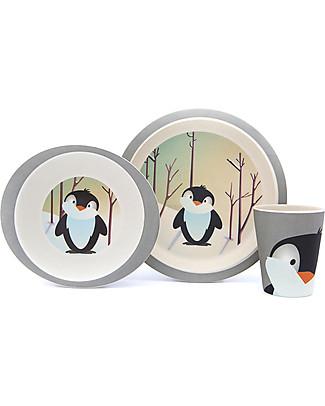 Pure Kids Set Pappa in Bambù, 3 pezzi, Pinguino – Biodegradabile, senza BPA, PVC o ftalati! Set Pappa