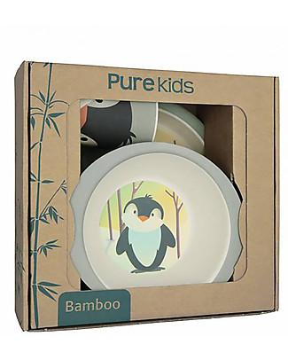 Pure Kids Set Pappa in Bambù, 3 pezzi, Pinguino - Biodegradabile, senza BPA, PVC o ftalati! Set Pappa