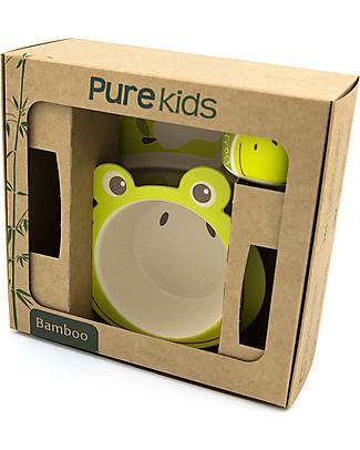 Pure Kids Set Pappa in Bambù, 3 pezzi, Rana – Biodegradabile, senza BPA, PVC o ftalati! Set Pappa