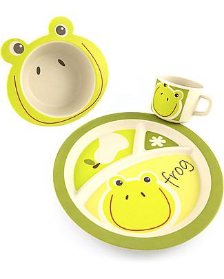 Pure Kids Set Pappa in Bambù, 3 pezzi, Rana - Biodegradabile, senza BPA, PVC o ftalati! Set Pappa