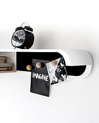 Rafa Kids Scaffale S per Bambini, Legno Bianco e Metallo Nero - Betulla finlandese Mensole