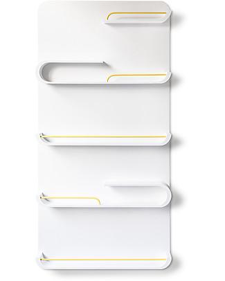 Rafa Kids Scaffale XL per Bambini, Legno bianco e metallo giallo - Betulla finlandese Mensole