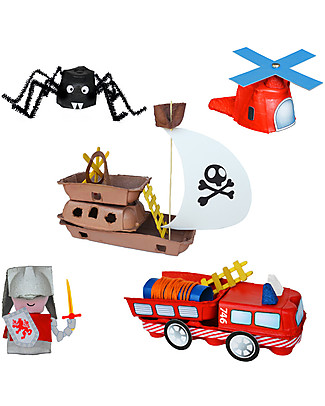 Re-Cycle-Me Set Gioco Ecologico per Bambini Contenitori Uova - Scatena la fantasia usando oggetti da buttare! Giochi Creativi