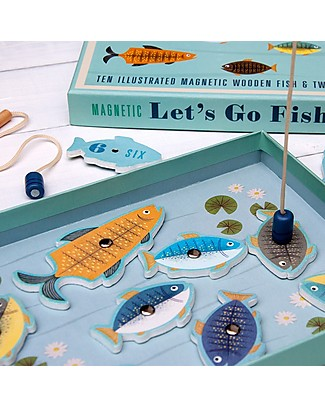 Rex London Andiamo a Pescare, Gioco Magnetico – 10 pesci in legno! Giochi Di Una Volta