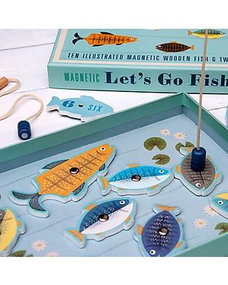 Rex London Andiamo a Pescare, Gioco Magnetico - 10 pesci in legno! Giochi Di Una Volta