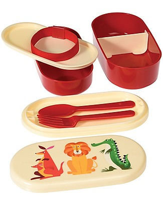 Rex London Bento Box Porta Pranzo, Creature Colorate - Senza BPA! Contenitori Latte e Snack