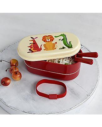 Rex London Bento Box Porta Pranzo, Creature Colorate - Senza BPA! Contenitori Latte e Snack