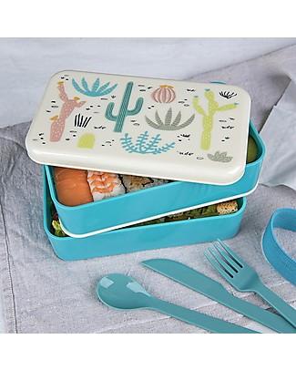 Rex London Bento Box Porta Pranzo, Deserto in Fiore - Senza BPA! Contenitori Latte e Snack