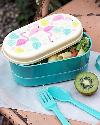 Rex London Bento Box Porta Pranzo, Flamingo Bay - Senza BPA! Contenitori Latte e Snack