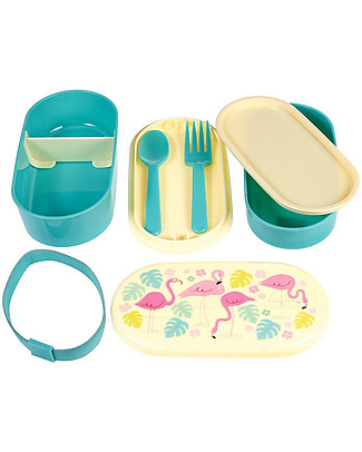 Rex London Bento Box Porta Pranzo, Flamingo Bay - Senza BPA! Contenitori Latte e Snack