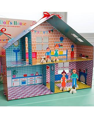 Rex London Casa delle Bambole in Cartone Fai-da-te - Include 6 personaggi! Carta e Cartone