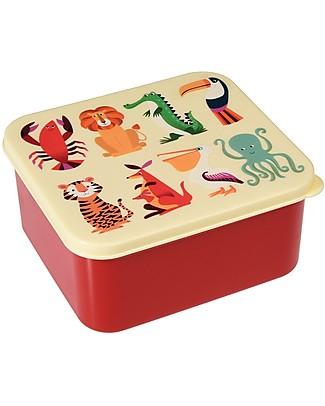 Rex London Contenitore Porta Pranzo, Creature Colorate 14x15x7 cm - Senza BPA! Contenitori Latte e Snack
