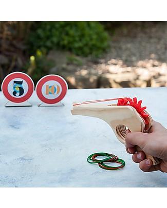 Rex London Pistola in Legno con Elastici – Completa di bersagli! Giochi Di Una Volta