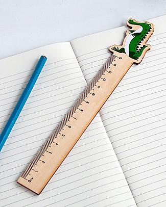 Rex London Righello in Legno 15 cm, Crocodile - Ottima idea regalo per la scuola! Colorare