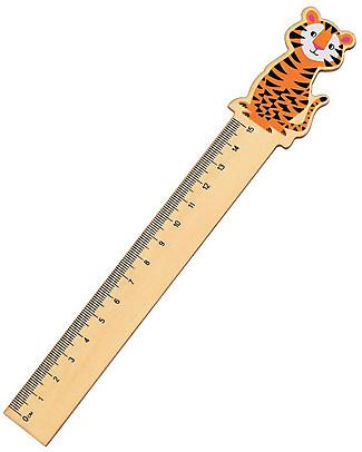 Rex London Righello in Legno 15 cm, Tiger - Ottima idea regalo per la scuola! Colorare