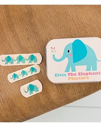 Rex London Scatola in Latta con Cerotti Assortiti, Elvin l'Elefante - Pacco da 30 Cerotti
