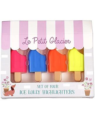 Rex London Set di Evidenziatori, Ghiacciolo - Quattro colori: Giallo, Arancione, Rosa e Blu Colorare